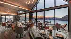 Kamana Lakehouse Hotel Restaurant in Queenstown has mountain and lake views.