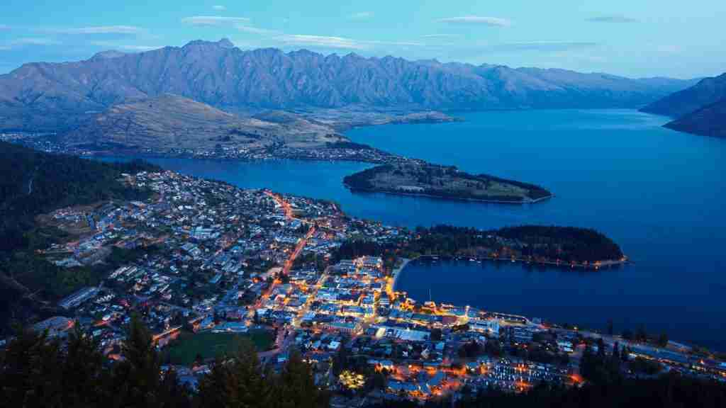 Queenstown aerial view at dusk