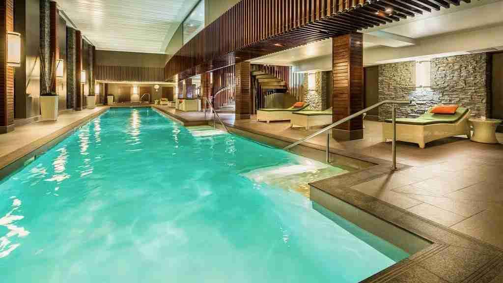Hilton Queenstown Resort and Spa indoor swimming pool.