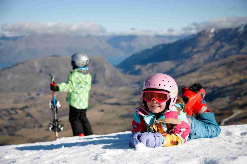 Kids skiing, Coronet Peak Ski Area